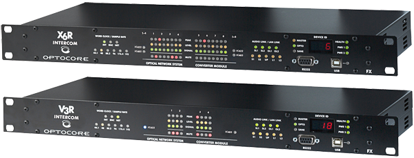 V3R-FX-INTERCOM og X6R-FX-INTERCOM er interface-enheter fra Optocore som tillater at interkom audio fra Clear-Com Hybrid Network kan transporteres i et Optocore audio nettverk